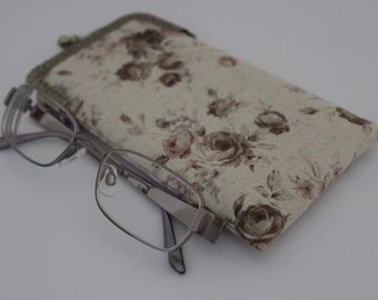 Eyeglass Case Soft Fabric Glasses Case Grey Floral Linen Fabric