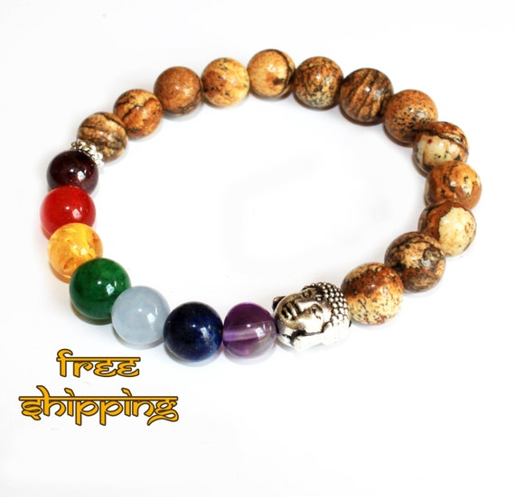 7 Chakras Bracelet with Picture Jasper, Yoga Jewelry - Free Shipping