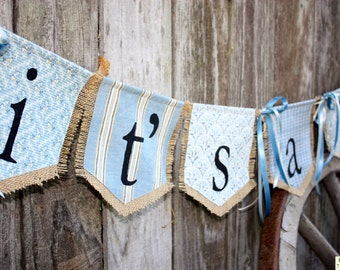 Custom IT'S A BOY bunting banner flag...new baby, shower