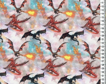 Fire Dragons on cotton lycra jersey knit fabric - UK seller
