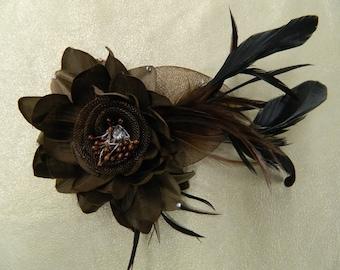 Vintage inspired dark brown flower fascinator with feathers hair clip brooch