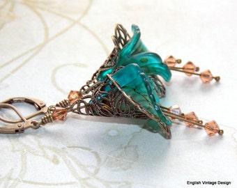 Turquoise Flower Earrings, Victorian Earrings, Boho Earrings, Drop Earrings, Hand Painted Earrings, Lucite Flower Earrings, Vintage Style