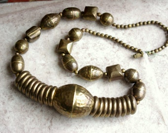 Strand of Vintage Brass Beads, Jewelry Making Supplies, Hammered Brass