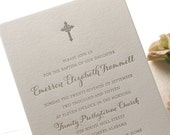 Letterpress Baptism, Christening, Communion Invitations, 25 flat cards, 1 color, Custom, modern, traditional, calligraphy, cross, BA118