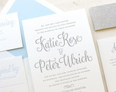 The Forget Me Not Sample, Modern Letterpress Wedding Invitations, Silver, Glitter, Winter, White, Grey, Formal, Elegant, Calligraphy, Script