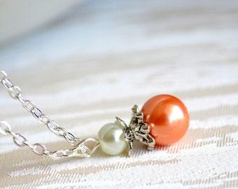 Orange Weddings jewelry Orange Bridesmaids necklace Bridesmaid gift jewelry wedding party Orange necklace Flower girl gift