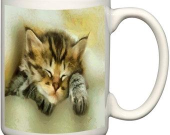 Sweet Dreams Kitten 15 Ounce Ceramic Latte Mug By Doggylips
