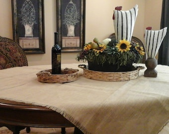 Large|Custom Fringed Upholstery Grade Burlap Tablecloth| Square Table Cloth|,Christmas  Decor