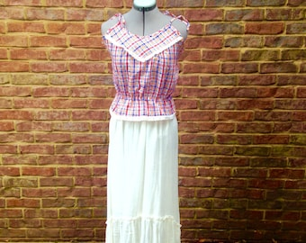 70's crop style country/festival string tie top
