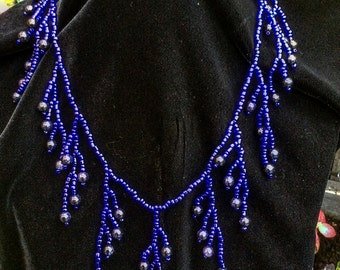 Midnight blue feathery beaded necklace