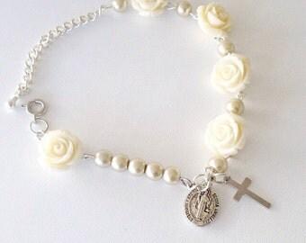 Rose~Rosary Bracelet.