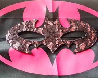 Batman/ batgirl cape and mask, pink, black, yellow. costume, party favor, birthday party, girl mask
