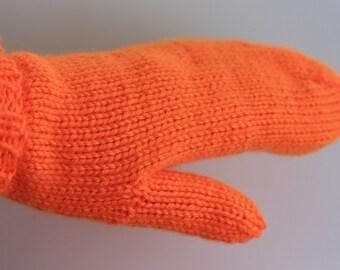 Neon Orange Mittens, Orange Knit Mittens for Adults, Hunting Accessories, Blaze Orange Gloves, Mens Small Mittens, Halloween Mittens