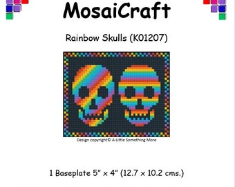MosaiCraft Pixel Craft Mosaic Art Kit 'Rainbow Skulls' (Like Mini Mosaic and Paint by Numbers)