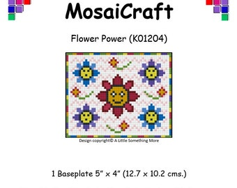 MosaiCraft Pixel Craft Mosaic Art Kit 'Flower Power' (Like Mini Mosaic and Paint by Numbers)