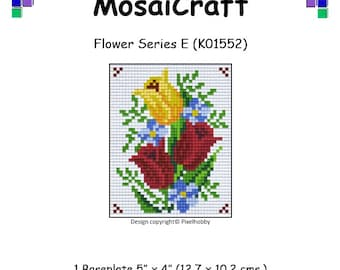 MosaiCraft Pixel Craft Mosaic Art Kit 'Flower Series E' (Like Mini Mosaic and Paint by Numbers)