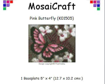 MosaiCraft Pixel Craft Mosaic Art Kit 'Pink Butterfly' (Like Mini Mosaic and Paint by Numbers)