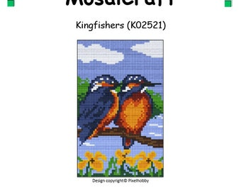 MosaiCraft Pixel Craft Mosaic Art Kit 'Kingfishers' (Like Mini Mosaic and Paint by Numbers)