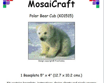 MosaiCraft Pixel Craft Mosaic Art Kit 'Polar Bear Cub' (Like Mini Mosaic and Paint by Numbers)