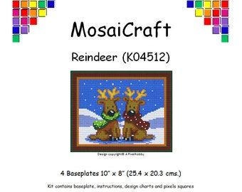 MosaiCraft Pixel Craft Mosaic Art Kit 'Reindeer' (Like Mini Mosaic and Paint by Numbers)