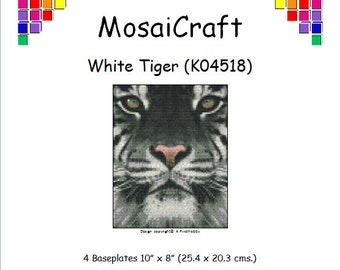 MosaiCraft Pixel Craft Mosaic Art Kit 'White Tiger' (Like Mini Mosaic and Paint by Numbers)