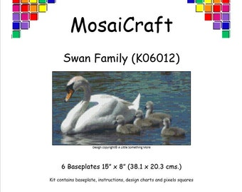 MosaiCraft Pixel Craft Mosaic Art Kit 'Swan Family' (Like Mini Mosaic and Paint by Numbers)