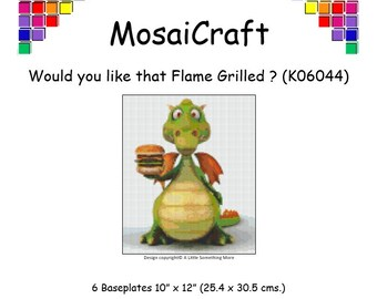 MosaiCraft Pixel Craft Mosaic Art Kit 'Would You Like That Flame Grilled?' (Like Mini Mosaic and Paint by Numbers)