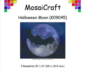 MosaiCraft Pixel Craft Mosaic Art Kit 'Halloween Moon' (Like Mini Mosaic and Paint by Numbers)