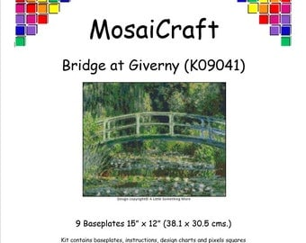 MosaiCraft Pixel Craft Mosaic Art Kit 'Bridge At Giverny' (Like Mini Mosaic and Paint by Numbers)