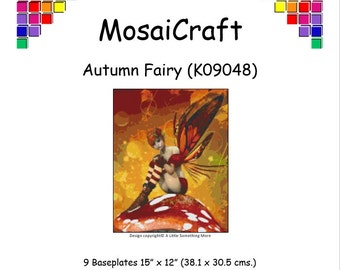 MosaiCraft Pixel Craft Mosaic Art Kit 'Autumn Fairy' (Like Mini Mosaic and Paint by Numbers)
