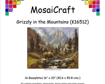 MosaiCraft Pixel Craft Mosaic Art Kit 'Grizzly In The Mountains' (Like Mini Mosaic and Paint by Numbers)
