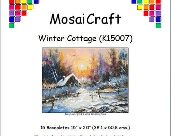 MosaiCraft Pixel Craft Mosaic Art Kit 'Winter Cottage (Like  Mini Mosaic and Paint by Numbers)