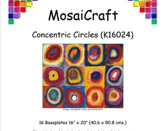 MosaiCraft Pixel Craft Mosaic Art Kit 'Concentric Circles' (Like Mini Mosaic and Paint by Numbers)
