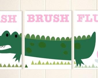 Girls bathroom art, alligator bathroom, alligator wall art, siblings bathroom, wash, brush, flush, set of 3 prints, custom colors