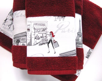 Red and black damask bath towels bathroom towels bath towel for Bathroom designs red and black