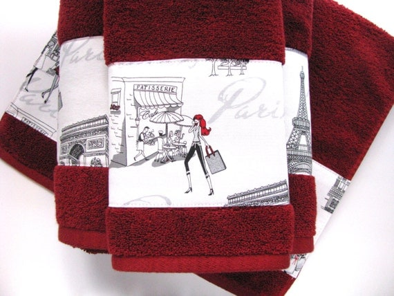 paris towels red hand towels paris girls bathroom towels