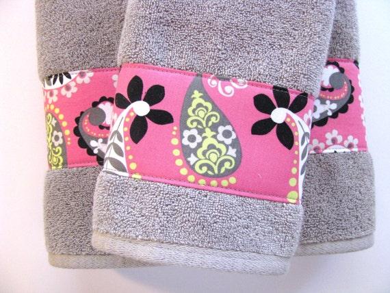 Pink and grey towels hand towels towel sets bath towels for Pink and grey bathroom sets