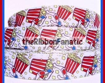 "5 yds 7/8""  Movie Night Popcorn 3-D Glasses Grosgrain Ribbon"