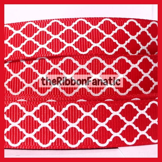 5 Yds 5 8 Quot Red And White Quatrefoil Modern Morroccan Tile