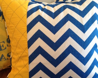 Royal Blue Pillow Cover 18 x 18 inch Chevron Pillow Cover Blue Gold Pillow Cover Blue White Pillow Cover Zipper Pillow Cover
