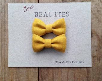 Girls Hair bows - Mini fabric tuxedo hair bows with alligator clips - Mustard yellow