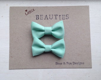 Girls Mint Green Hair Bows - Mini fabric tuxedo clip on bows with alligator clips
