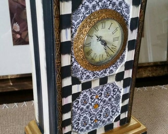 Whimsical Black and White Check Mantle Carriage Clock
