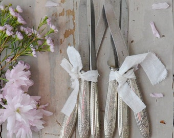 French Vintage Knives with Silver Plated Handles