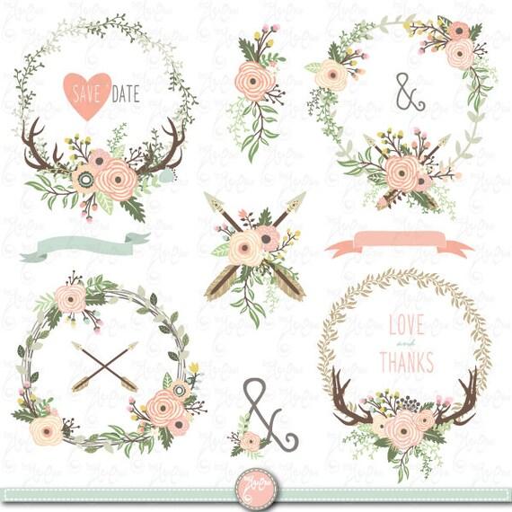 Floral Wreaths clip art TRIBAL FLORAL WREATH