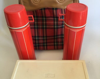 Vintage Flannel Thermos Pack Plaid His and Hers