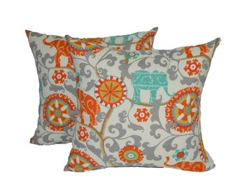 "Set of 2 ~ 22"" x 22"" In / Outdoor Orange, Teal / Turquoise, Gray Bohemian Elephant Decorative Throw / Toss Pillows"