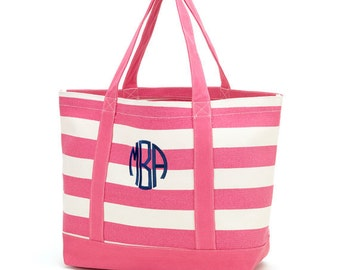 Monogram Tote Bag - Personalized  Tote Bag - Beach Bag - Pool Bag -Canvan Bag - Pink Striped Tote Bag
