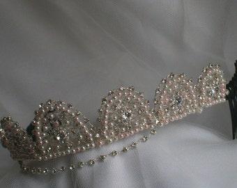 Handmade swarovski forehead browband wedding bridal tiara