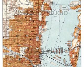 Hand Painted Map of Miami, Florida 1950 / Retro Miami / Vintage Miami / Miami Map Art/ Florida Map